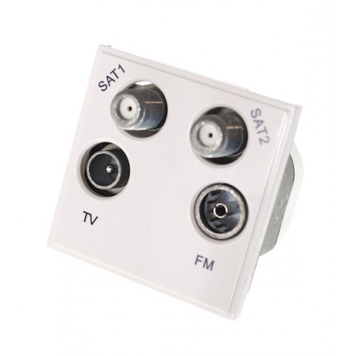 SAT1/ SAT2/ TV/FM Outlet - White