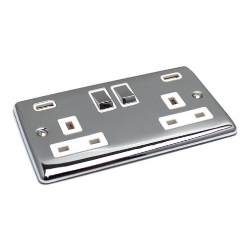 Definition Polished Chrome USB Twin Port 3.1A Socket