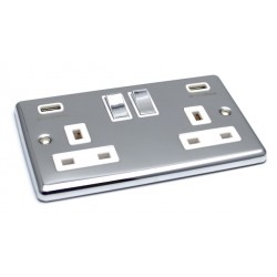 Polished Chrome USB Twin Port 3.1A Socket - White Trim