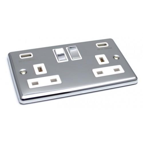 Polished Chrome USB Twin Port 3.1A Socket - White Trim