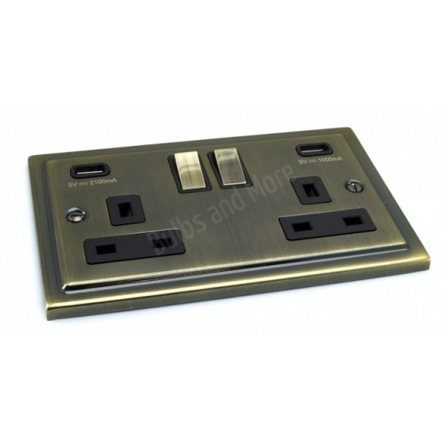 Antique Brass Regency Range USB Twin Port 3.1A Socket