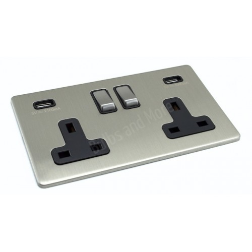 Screwless - USB Twin 3.1A Socket - Brushed Chrome