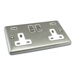 satin chrome usb twin port 31a socket white trim