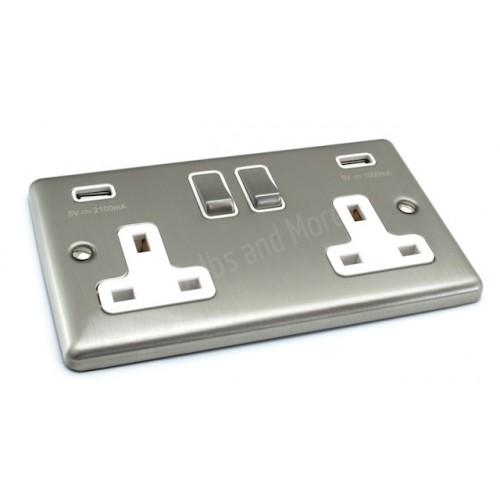Satin Chrome USB Twin Port 3.1A Socket - White Trim