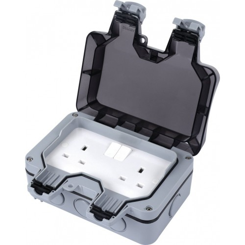 Weatherproof 13A Double Outdoor Sockets - WP2G13A