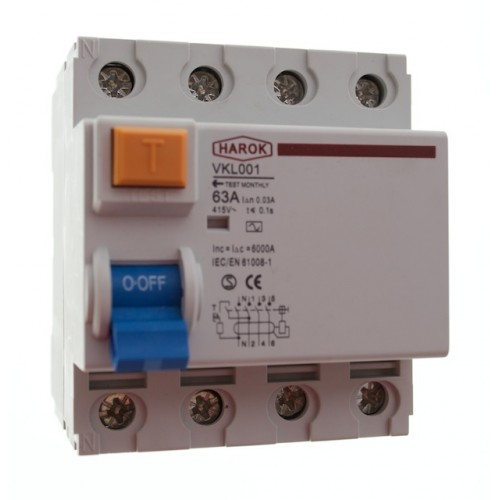 VKL001 Series 4 Pole Residual Current Device (RCD)