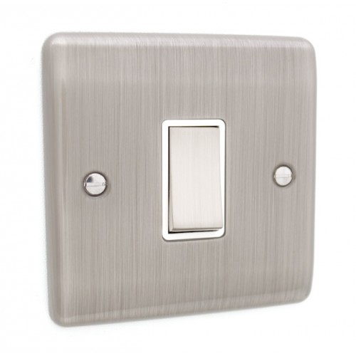 Brushed Chrome 1 Gang Light Switch - White Trim - D01BCW