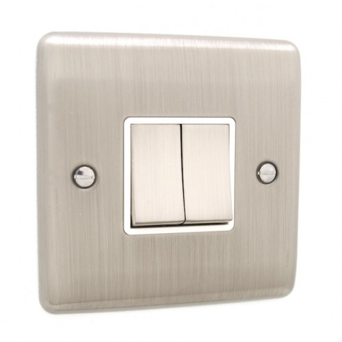 Brushed Chrome 2 Gang Light Switch - White Trim - D02BCW
