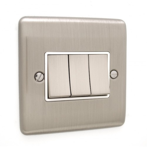 Brushed Chrome 3 Gang Light Switch - White Trim - D03BCW