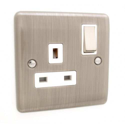 Brushed Chrome 1 Gang Plug Socket - White Trim - D06BCW