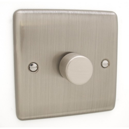 Brushed Chrome 1 Gang 250w Dimmer Switch - White Trim - D10BCW