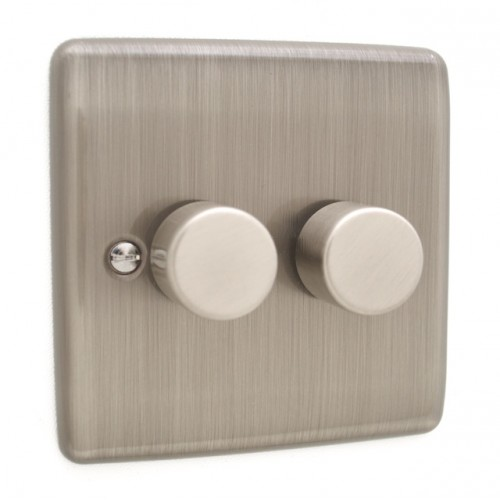 Brushed Chrome 2 Gang 250w Dimmer Switch - White Trim - D11BCW