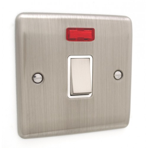 Brushed Chrome 1 Gang 20A DP Switch - White Trim - D37BCW