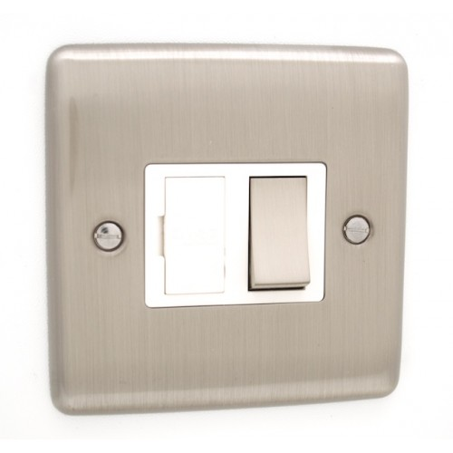 Brushed Chrome 13a Switched Fuse Spur - White Trim - D38BCW