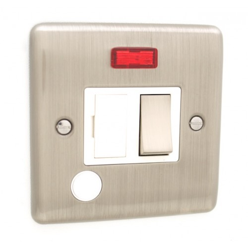 Brushed Chrome 13a Switched Fuse Spur with Neon - White Trim - D39BCW