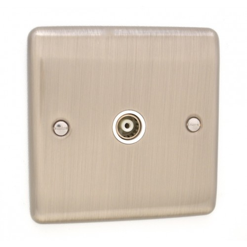 Brushed Chrome 1 Gang TV Point - White Trim - D42BCW