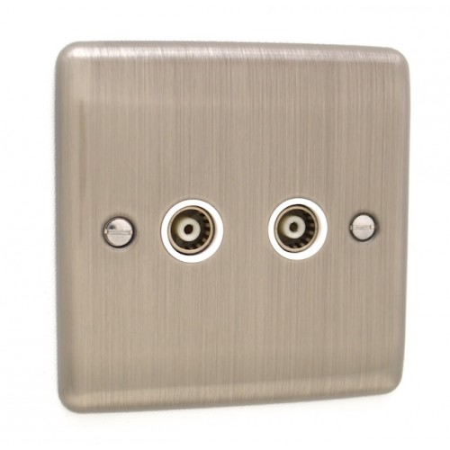 Brushed Chrome 2 Gang TV Point - White Trim - D43BCW
