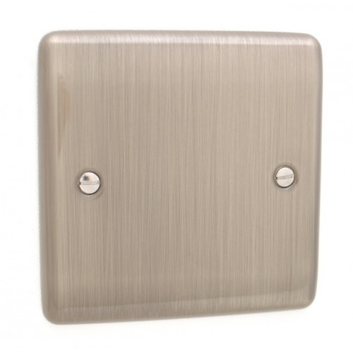Brushed Chrome 1 Gang Blank Plate - White Trim - D49BCW