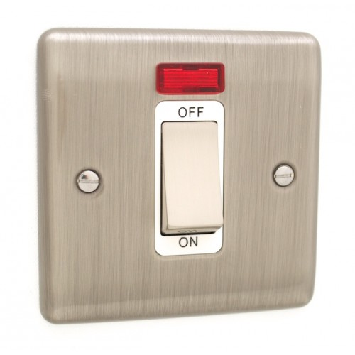 Brushed Chrome 45A Single Cooker Switch - White Trim - D52BCW