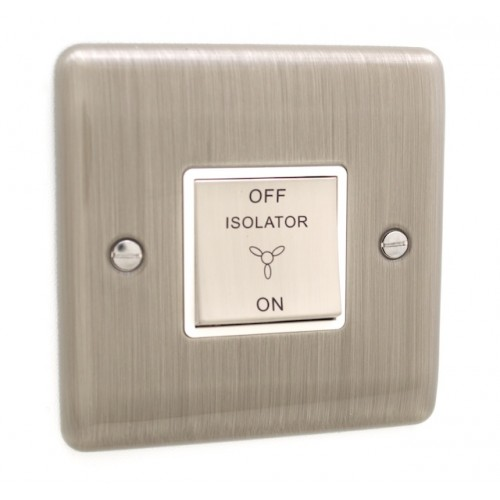 Brushed Chrome Fan Isolator Switch - White Trim - D53BCW