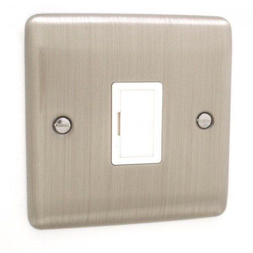 Brushed Chrome Unswitched Fuse Spur - White Trim - D55BCW