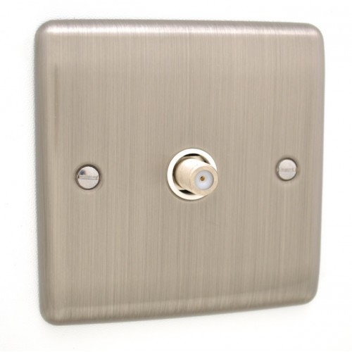 Brushed Chrome 1 Gang Satellite Socket - White Trim - D59BCW