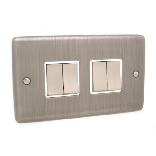 Brushed Chrome 4 Gang Switch - White Trim - D04BCW