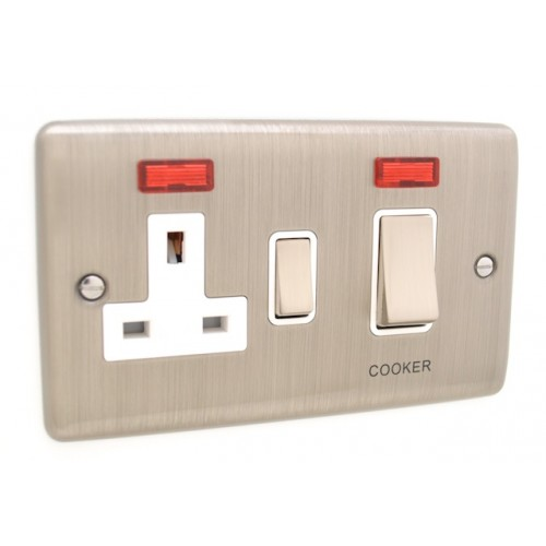 Brushed Chrome Cooker Switch with 13a Socket - White Trim - D41BCW