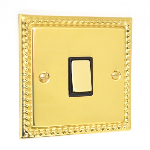 Georgian Polished Brass - 1 Gang Intermediate Light Switch - G05PB
