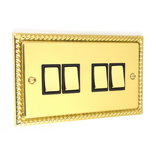 Georgian Polished Brass - 4 Gang Light Switch - G04PB