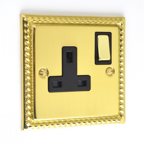 Georgian Polished Brass - 1 Gang Plug Socket - G06PB