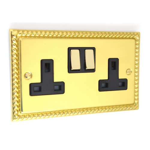Georgian Polished Brass - 2 Gang Plug Socket - G07PB