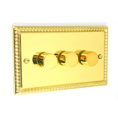 Georgian Polished Brass - 3 Gang 250w Dimmer Switch - G12PB
