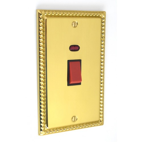 Georgian Polished Brass - 45s Double Cooker Switch - G40PB