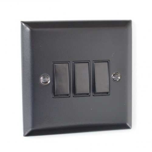 3 Gang Light Switch - Elite Matt Black Range