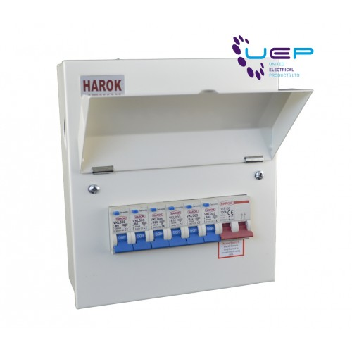 Harok - Metal Consumer Unit 100a Main Switch 6 Usable Way c/W 6 x RCBOs Amendment 3
