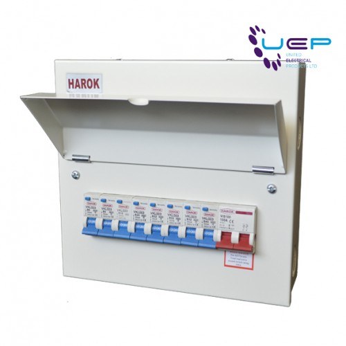 Harok - Metal Consumer Unit 100a Main Switch 8 Usable Way c/W 8 x RCBOs Amendment 3