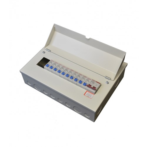 Harok - Metal Consumer Unit 100a Main Switch 12 Usable Way c/W 10 x MCBs Amendment 3