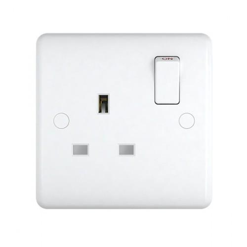 White Plastic 1Gang 13A Socket - Studio Range