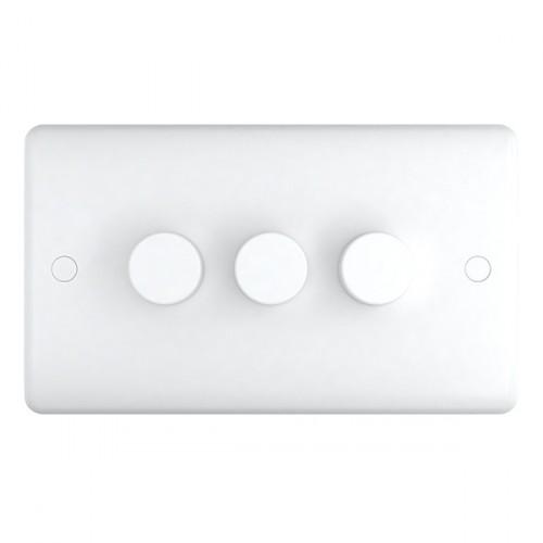 White Plastic 3Gang 250w Dimmer - Studio Range