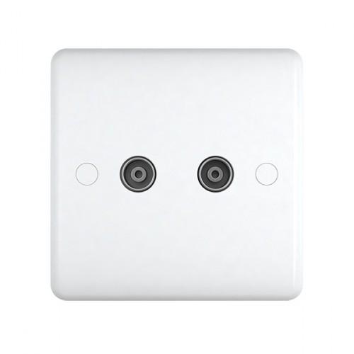 White Plastic 2 Gange TV Socket - Studio Range