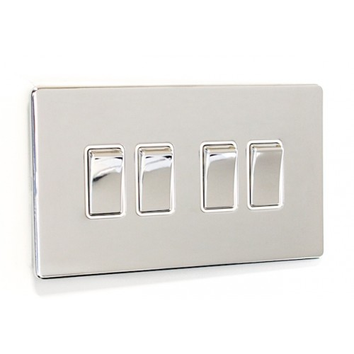 Signature Screwless - 4 Gang Light Switch - SG04PCW