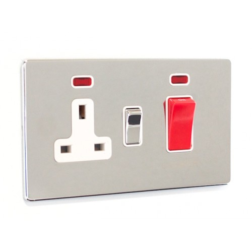 Signature Screwless - 45a Cooker Switch with Socket - SG41PCW