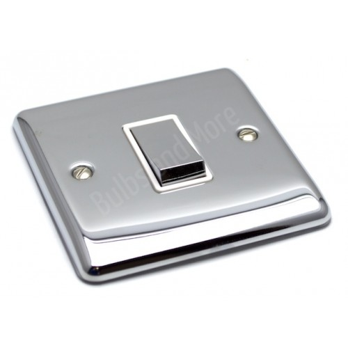 Polished Chrome - 1 Gang Light Switch White Trim - D01PCW
