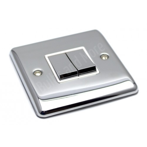 Polished Chrome - 2 Gang Light Switch White Trim - D02PCW