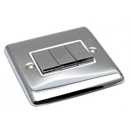 Polished Chrome - 3 Gang Light Switch White Trim - D03PCW
