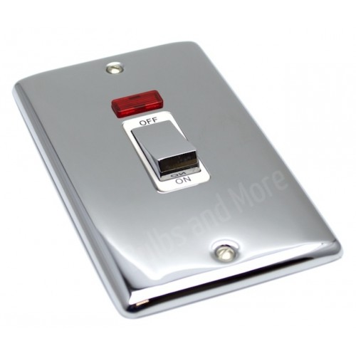 Polished Chrome - 45a Double Cooker Switch - D40PCW