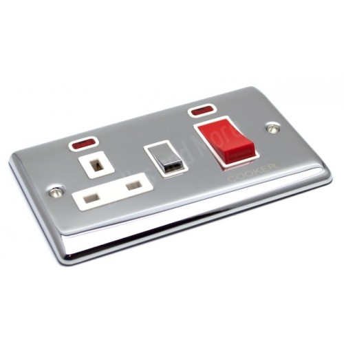 Polished Chrome - 45a Cooker Switch with Socket - D41PCW
