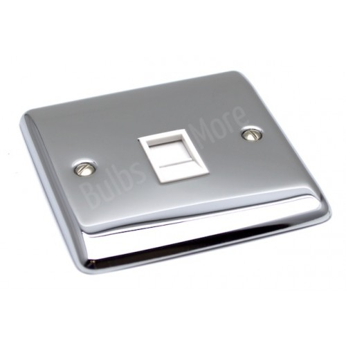 Polished Chrome - RJ45 Socket White Trim - D62PCW