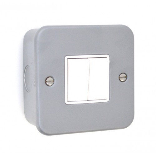 Metal Clad 2 Gang 10A Switch - MC02